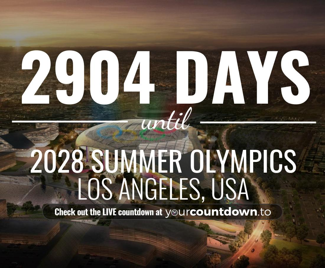 Countdown to 2028 Summer Olympics Los Angeles, USA