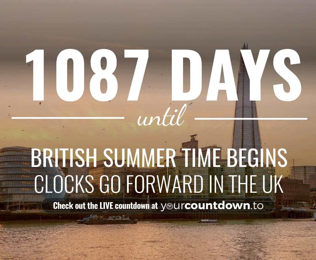 Countdown to British Summer Time Begins Clocks go forward in the UK