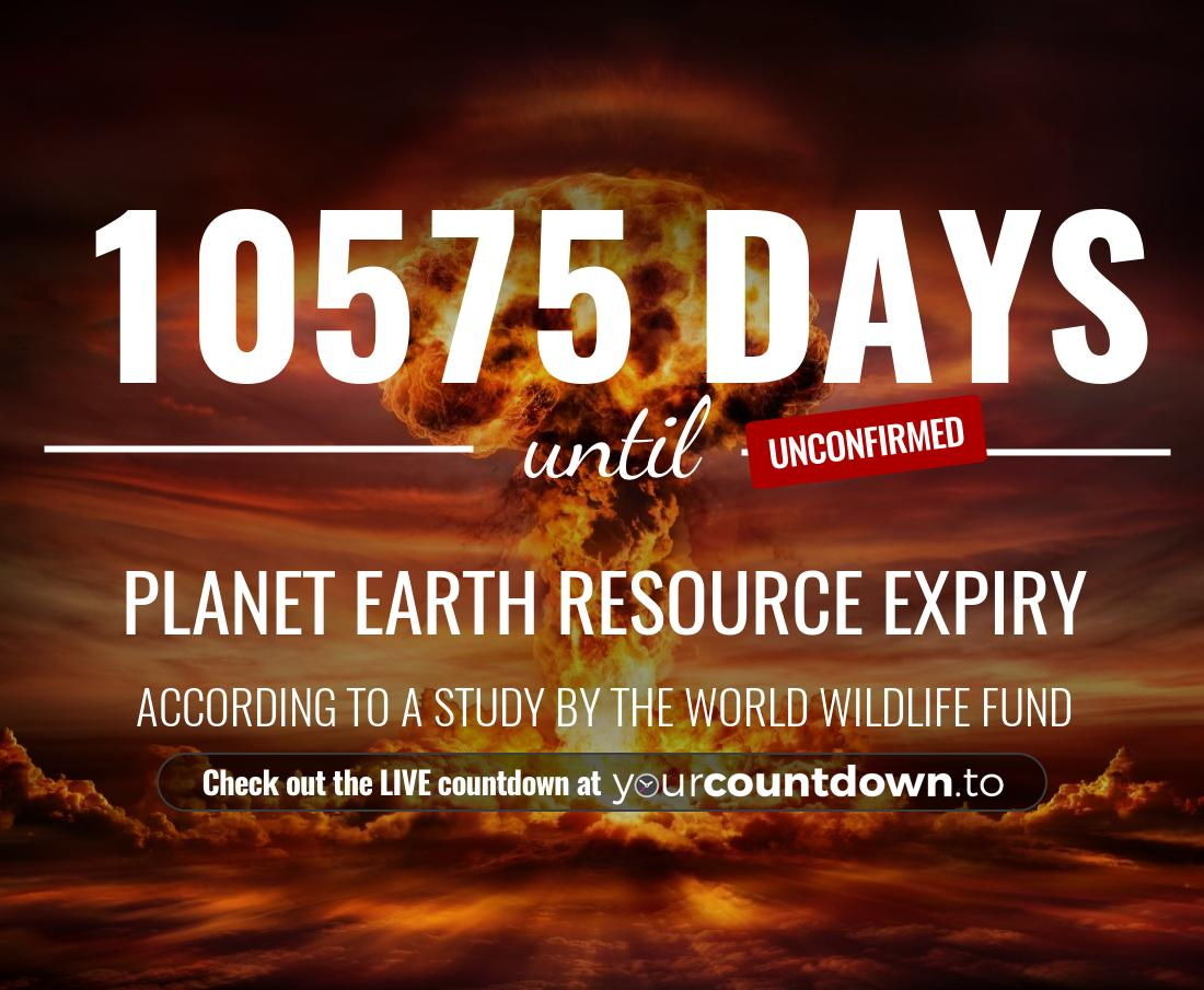 Countdown to Planet Earth Resource Expiry According to a study by the World Wildlife Fund
