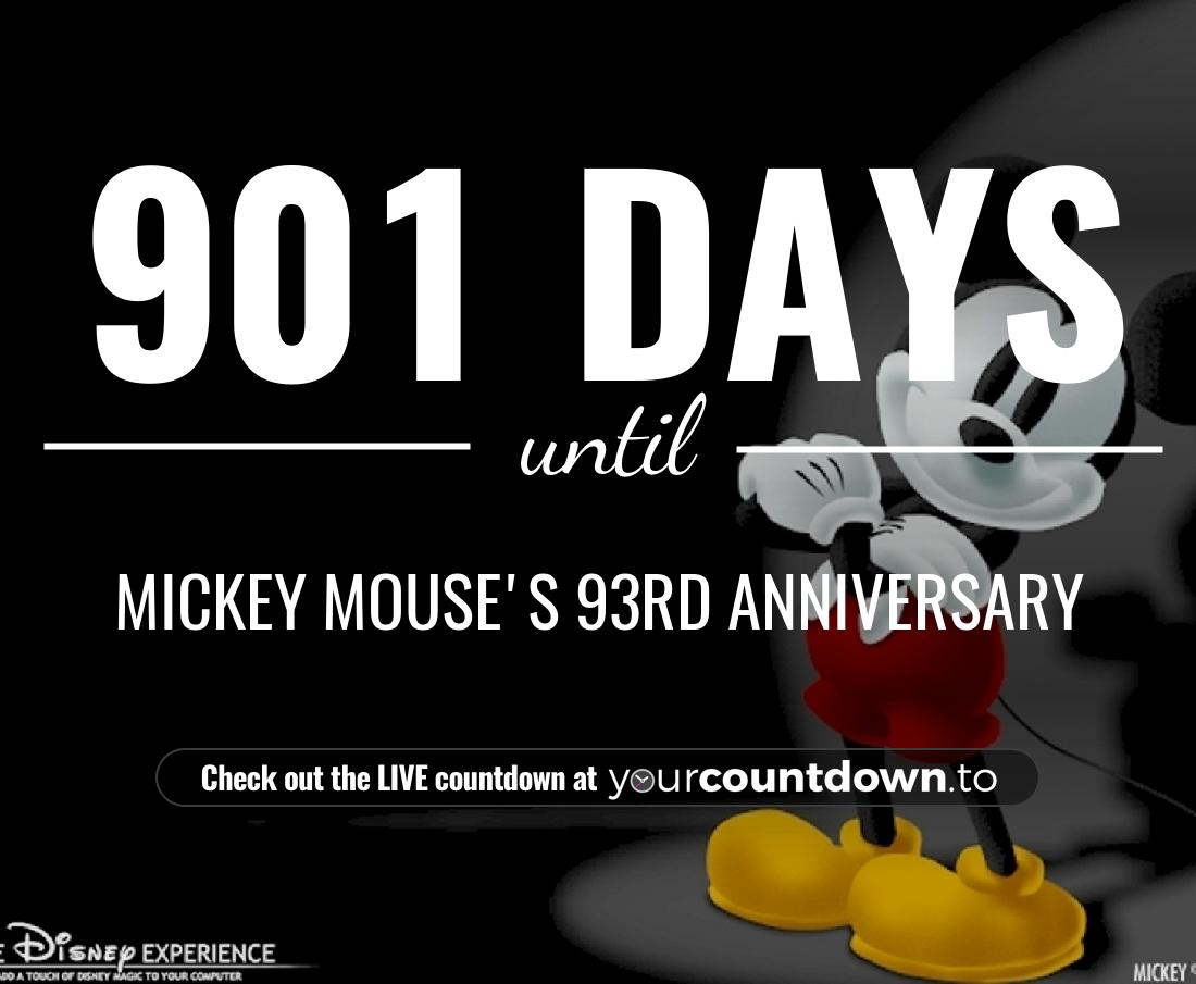 Countdown to Mickey Mouse's 92nd Anniversary