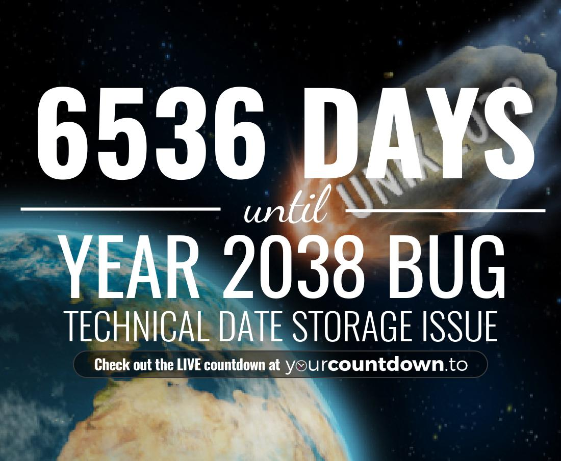 Countdown to Year 2038 Bug Technical Date Storage Issue